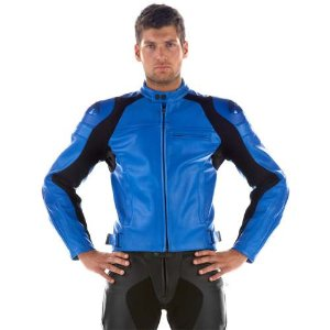 blue leather jacket by dainese