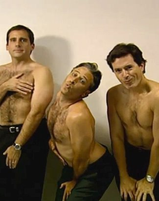 stephen colbert shirtless with steve carrell and jon stewart2