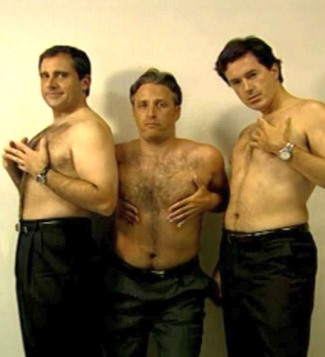 jon stewart shirtless with steve carrell and colbert