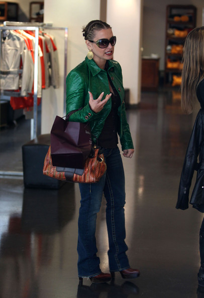 celebrity green leather jacket