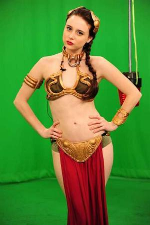 Alessandra Torresani gold bikini as princess leia