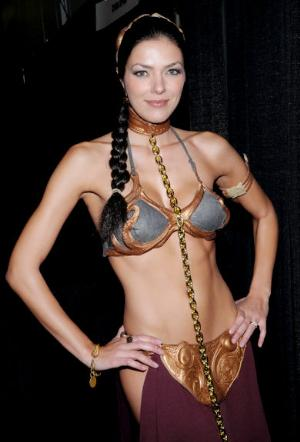celebrities as princess leia in gold bikini adrienne curry