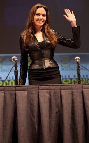 Angelina Jolie Versace sexy leather jacket