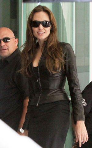 angelina jolie versace leather jacket