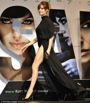 celebrity black dress angelina jolie