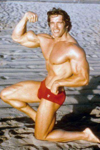 Arnold Schwarzenegger posing trunks or speedo - young