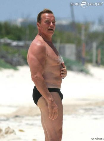 Arnold Schwarzenegger speedo - then and now young and old