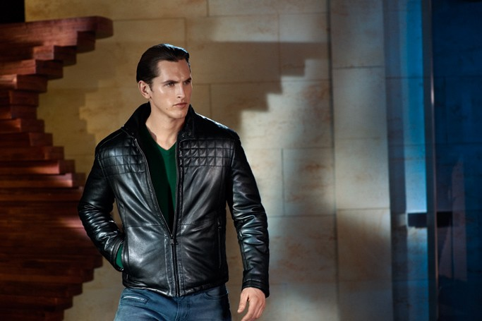hugo boss leather jacket for men black