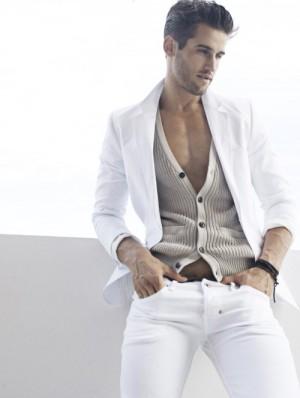 white jeans for men male model bryce thompson