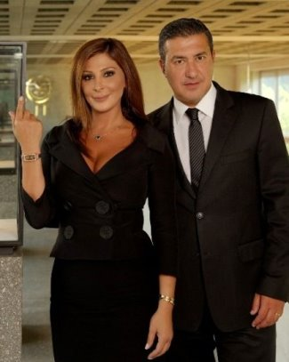 celebrities with corum watches - brand ambassador Elissa Khoury with CEO Antonio Calce
