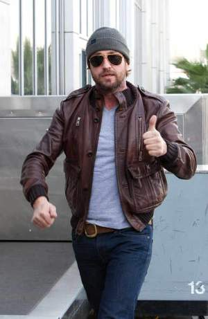 Gerard Butler Leather Jackets by Gucci