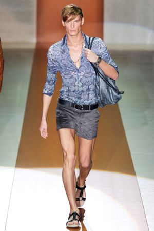 men in sexy short pants runway model