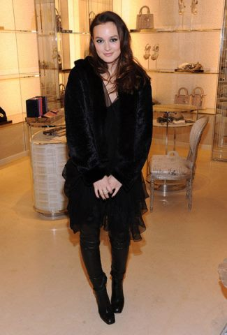 leighton meester WEaring Christian Dior Faux Fur Coat