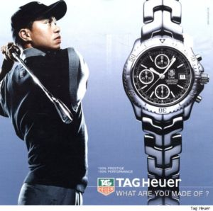 athletes wearing tag heuer watch - tiger woods