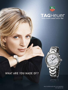 female celebrities with tag heuer watch - uma thurman
