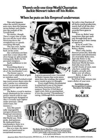 vintage rolex watch - jackie stewart advertisement