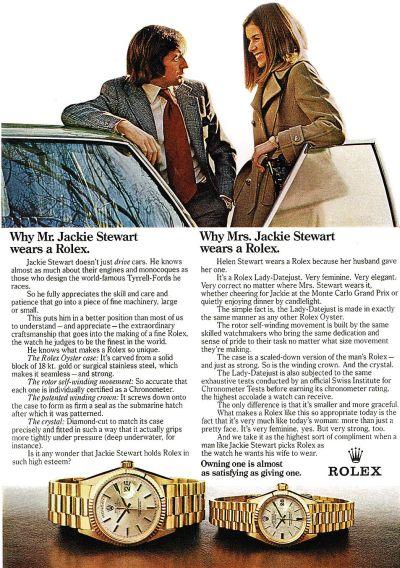 vintage rolex watch - jackie stewart