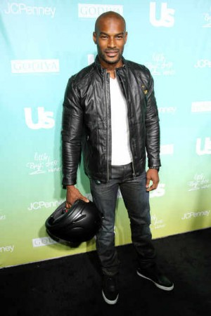 celebrities wearing gstar leather jackets tyson beckford