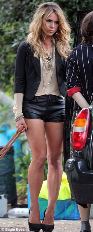 billie piper leather shorts