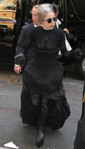 celebrities wearing calvin black klein dresses lady gaga