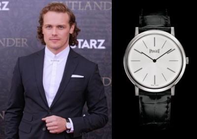 celebrities wearing piaget watches - sam heaughan