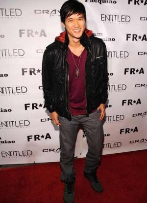 celebrities wearing superdry leather jacket harry shum
