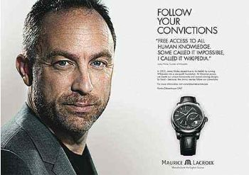 celebrities wearing maurice lacroix watch - jimmy wales wikipedia