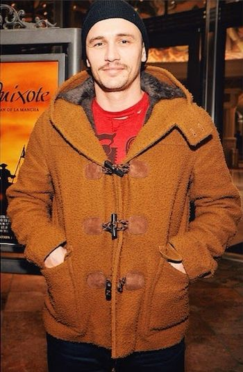 celebrities wearing gucci winter coats - james franco