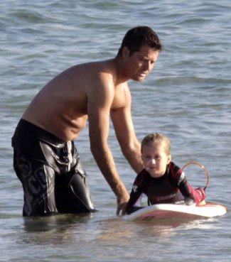 pete evans shirtless surfing with kids