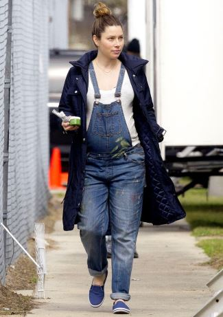 winter maternity clothes jessica biel jeans overall