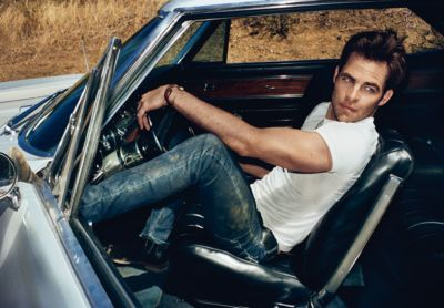 chris pine fashion style. prada jeans and prada shirt