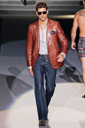 luxury designer jacket for men. brown leather jacket by dsquared. spring 2011 collection