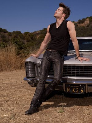 chris pine leather pants are hot