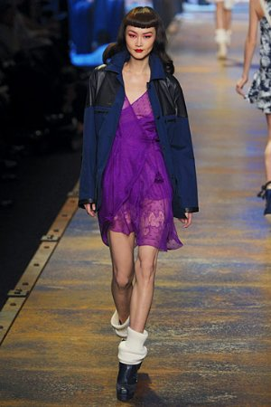 purple dress by christian dior. models wearing christian dior on runway