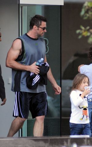 celebrities wearing adidas shorts - hugh jackman