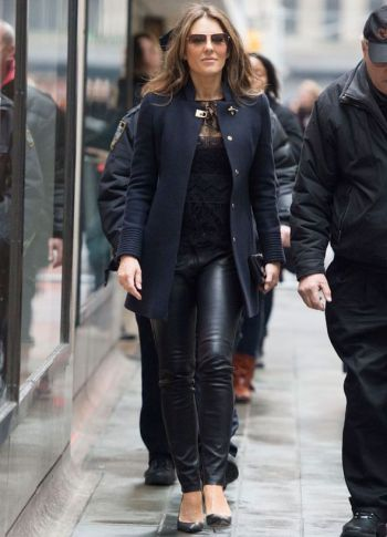 tight leather pants for older women - liz hurley