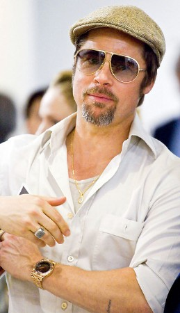 actors with rolex - Brad Pitt and Rolex Oyster Day-Date Watch