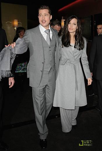 brangelina fashion style - Brad Pitt in Tom Ford Angelina Jolie in Ralph Lauren and Akris coat