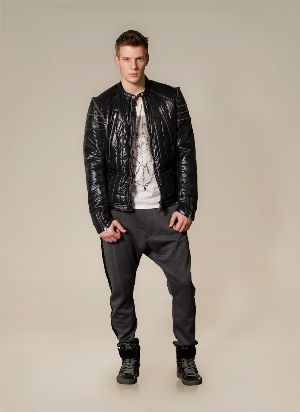 diesel black leather jacket for men
