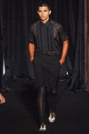 men wearing skirts - black skirt by givenchy