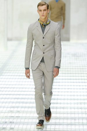 light gray suit for men - male model wearing prada - paris runway show