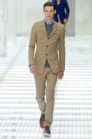 brown suits for men - slim suits by prada