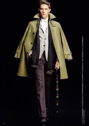 japanese mens coat - olive long coat