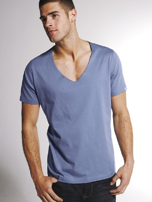 blue v-neck shirts for men