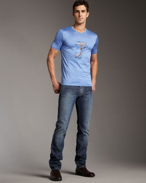 blue shirt - body hugging tight shirt for men by versace