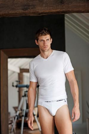 swiss male underwear - strellson white briefs - male supermodel andrew cooper