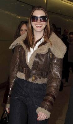 celebrities wearing shearling leather jacket - anne hathaway