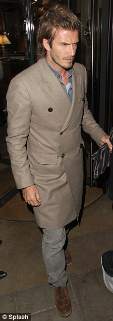 celebrity long coats for men - david beckham fall fashion style