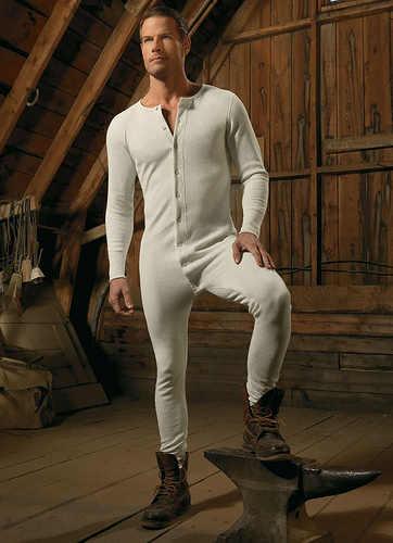 hot mens underwear onesie - brett hollands long john thermals