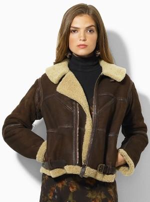 shearling leather jacket womens - ralph lauren bomber